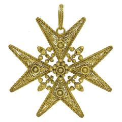 Antique Gold Filigree Maltese Cross Pendant