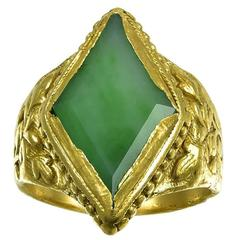Antique 24k Gold and Jade Ring