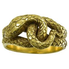 1920s American Engraved Gold Snake Ring