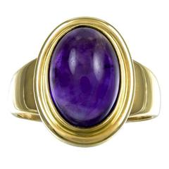 1990 Georg Jensen Cabochon Amethyst Gold Ring