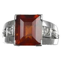 English 4.50 carat Hessonite Garnet  Diamond Ring