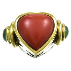 1970s  Italian  Coral Emerald Gold Ring