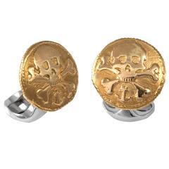 Deakin & Francis Sterling Silver 230 Coin Cufflinks Skull and Cross Bones
