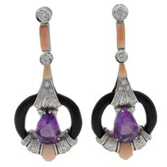 Diamond Amethyst Coral Onyx Gold Earrings