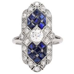 Art Deco Sapphire Diamond Platinum Ring