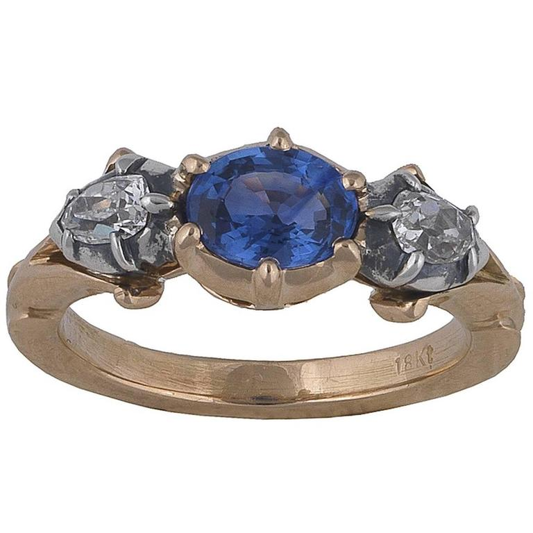 1880s Victorian Sapphire Diamond Three Stone Silver Gold Engagement Ring