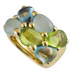 Unique Pomellato Saffi Multi Gemstone Gold Ring