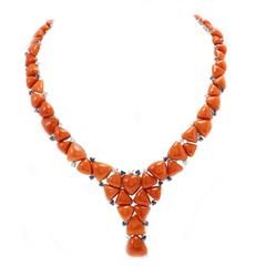 Diamonds Blue Sapphires Coral Gold Necklace