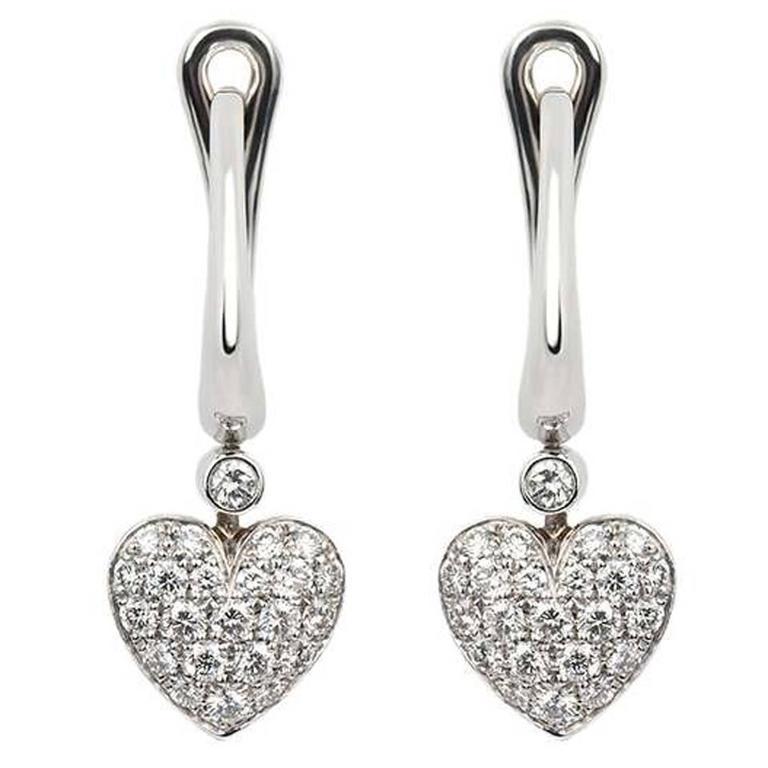 Clic Tiffany Co Diamond Heart Drop Earrings For