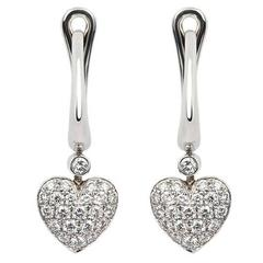 Classic Tiffany & Co. Diamond Heart Drop Earrings