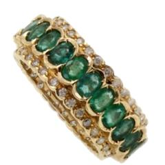 Emeralds Diamonds Gold Ring
