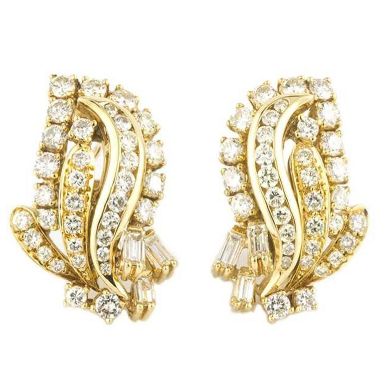 Beautiful Diamond & Gold Cocktail Earrings 2.50 Carat 1