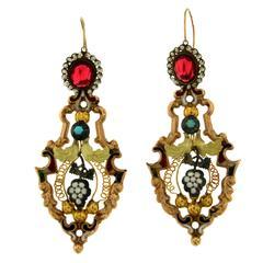 1700s Antique Italian Enamel Gold Night & Day Earrings