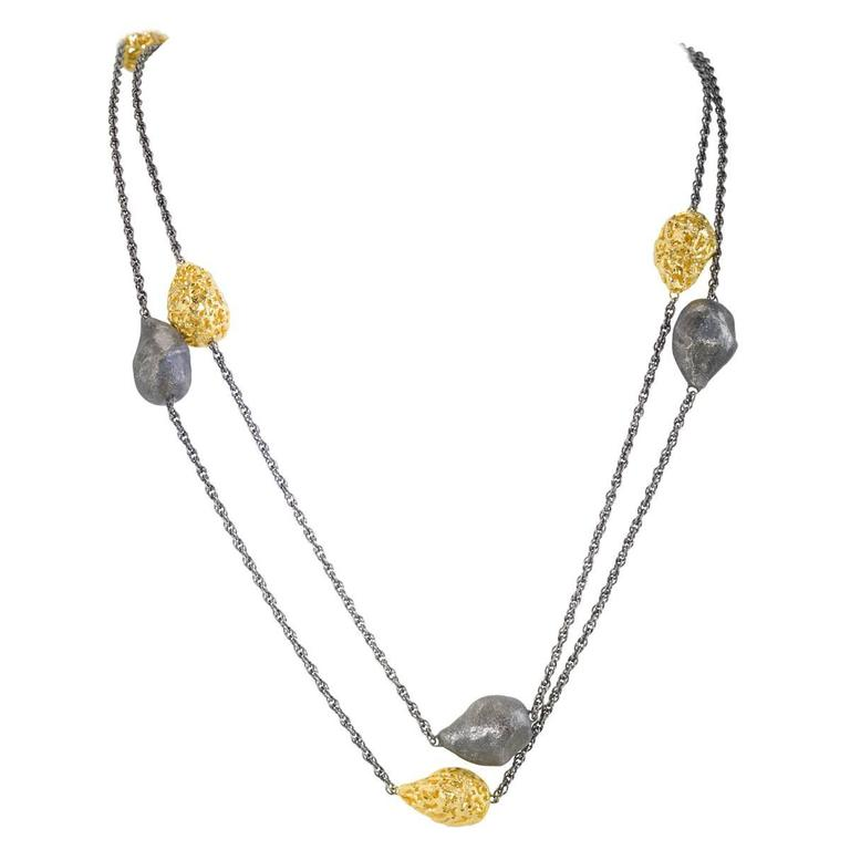 Silver Gold Textured Station Necklace Choker Handmade in NYC Limited Edition 1