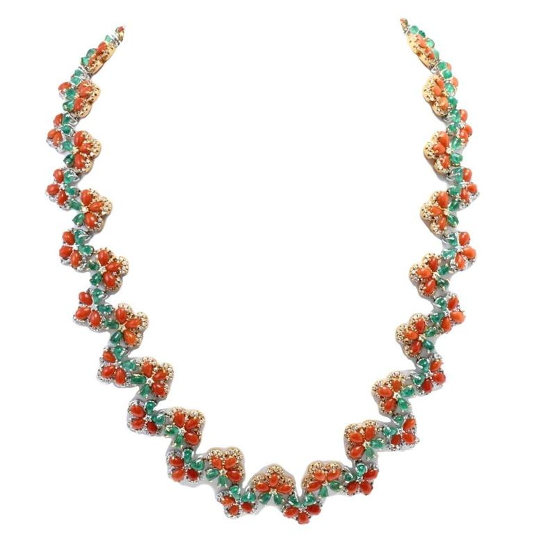 Diamonds Emeralds Coral Link  Gold Necklace