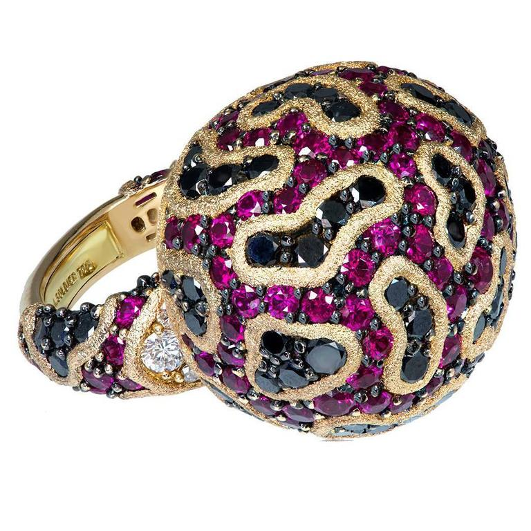 Alex Soldier Ruby Diamond Rose Gold Textured Fine Lace Ring Limited Edition For Sale