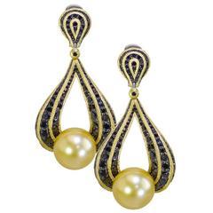 Alex Soldier Black Diamond Yellow Gold South Sea Pearl Drop Earrings Handmade