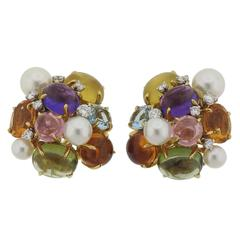 Seaman Schepps Multi Color Gemstone Diamond Pearl Gold Large Bubble Earrings
