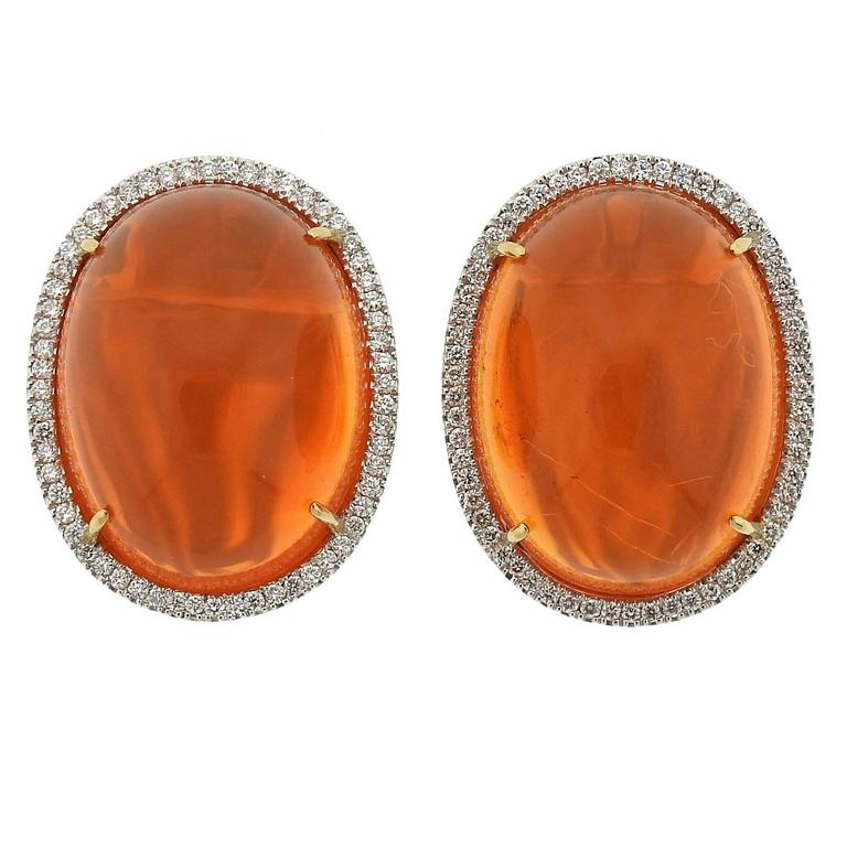 Mexican Fire Opal Cabochon Diamond Gold Earrings 1