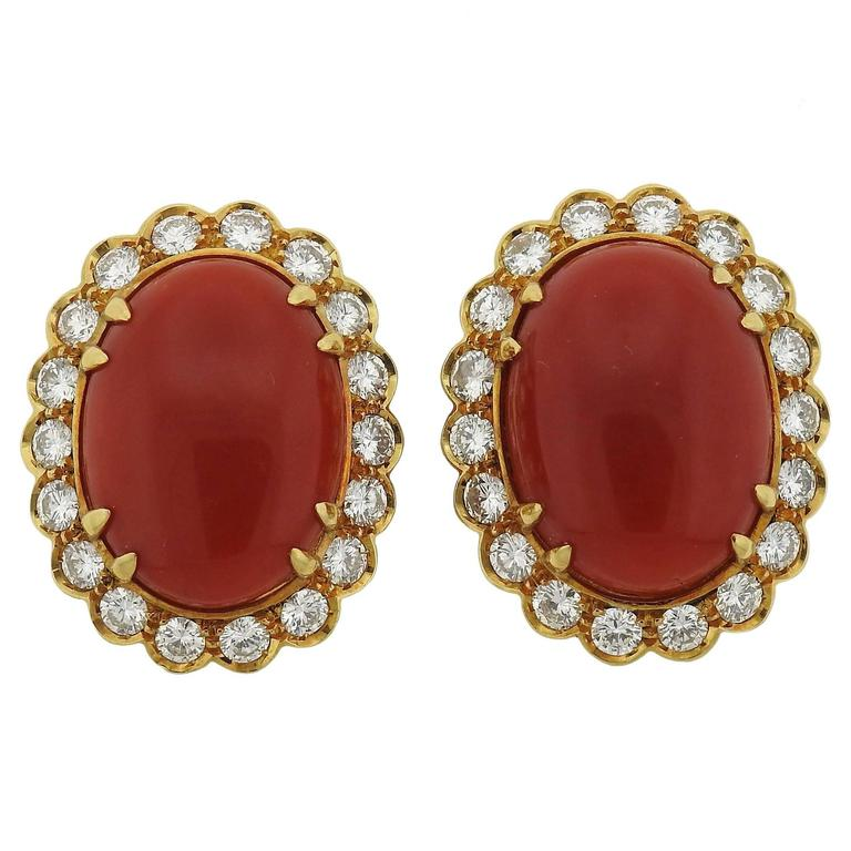 Oxblood Coral Diamond Gold Earrings For Sale
