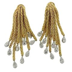 1950s Chic French Diamond Gold Tassel Earrings