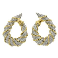 1980s Classic Diamond Gold Hoop Earrings