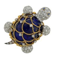 Hammerman Brothers Diamond Lapis-Lazuli Sapphire Turtle Brooch Pin