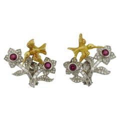 Kieselstein Cord Ruby Diamond Gold Platinum Bird Flower Trembler Earrings