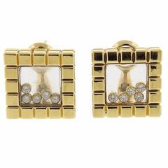 Chopard Ice Cube Diamond Gold Floating Earrings