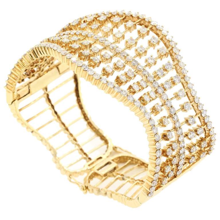 Modern Diamond Gold Cuff Bracelet
