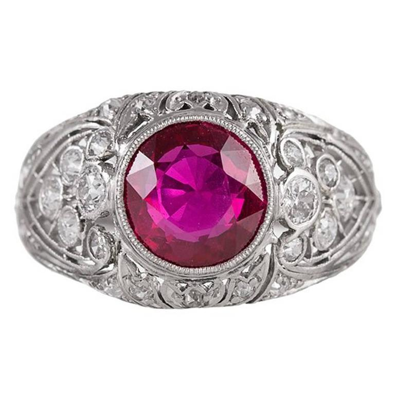 Art Deco 2.02 Carat Ruby Diamond Platinum Ring