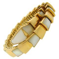 Bulgari Mother-of-Pearl Gold Snake Serpenti Bracelet