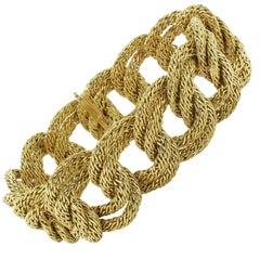 1960s French Wide Gold Braid Link Bracelet