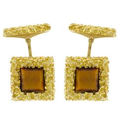 French Unique Tiger's Eye  Gold Cufflinks