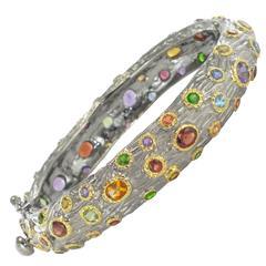 Modern Black Silver Bangle Bracelet with Precious Gemstones