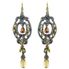 Modern Sapphire and Diamond Dangle Earrings