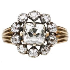 Antique Victorian Old Mine Cut Diamond Cluster Engagement Ring