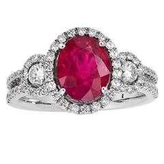 Oval Shape Ruby Diamond Halo Cocktail Engagement Ring