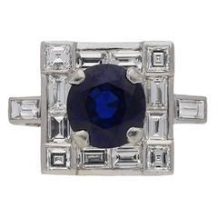 Art Deco Burmese sapphire diamond platinum cluster ring
