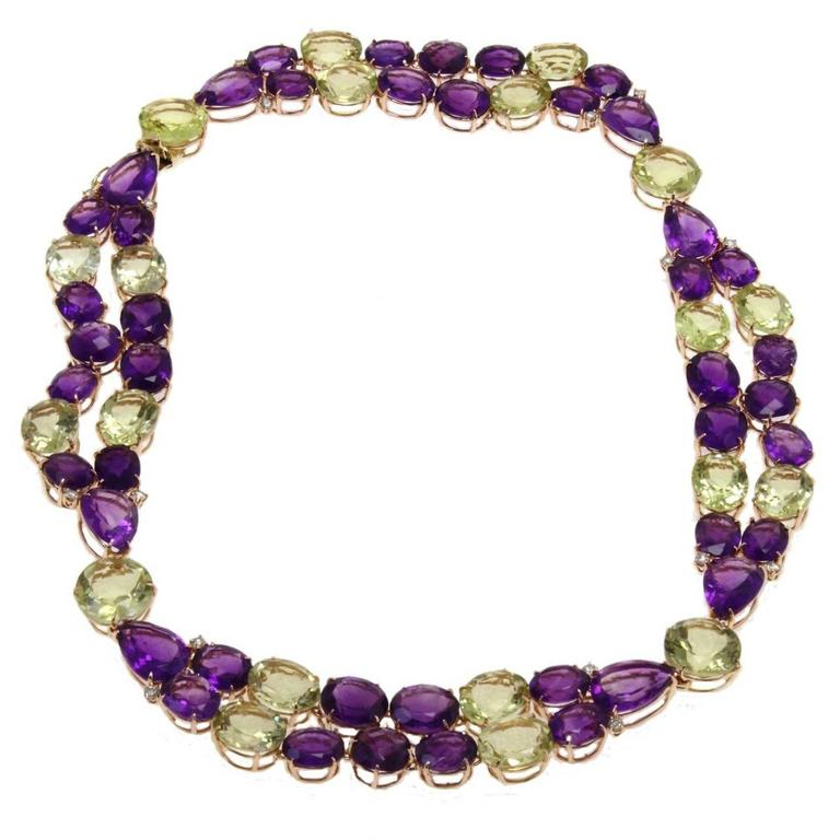 Luise Diamonds Amethysts Citrines Gold Necklace  1