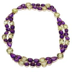 1.15 Carat Diamonds and 190.50 Carat Amethysts Citrines Gold Necklace