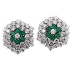 Diamonds Emeralds Gold Earrings
