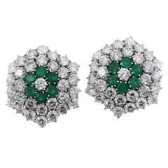 Luise Diamonds Emeralds Gold Earrings