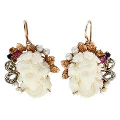 Diamonds Rubies Blue Sapphires Topaz Stones Pearls Gold Silver Earrings
