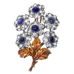 Rare 1930s Mario Buccellati Sapphire and Diamond Flower Brooch