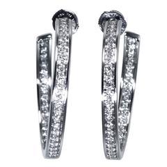 Cartier Diamond White Gold Hoop Earrings
