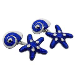 Starfish Seashell Shaped Hand Enamelled Sterling Silver Cufflinks