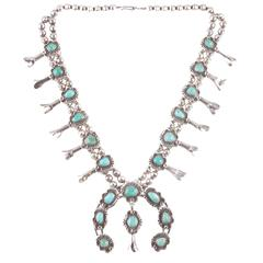 Silver Squash Blossom turquoise necklace