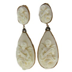 Diamonds Stones Gold and Silver Earrings