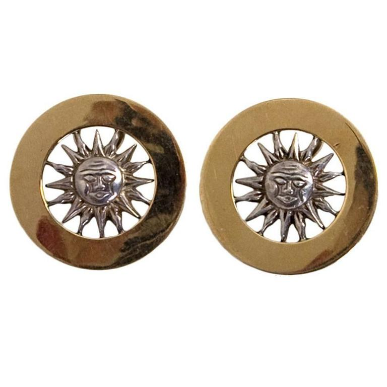Gucci Gold and Silver Sun Face Earrings 1